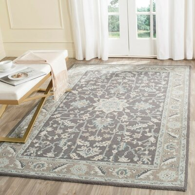 Kilbourne Hand-Tufted Dark Gray/Light Brown Area Rug Rug Size: Rectangle 4 x 6