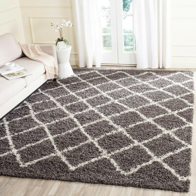 Laurelville Dark Gray/Ivory Area Rug Rug Size: Rectangle 86 x 12