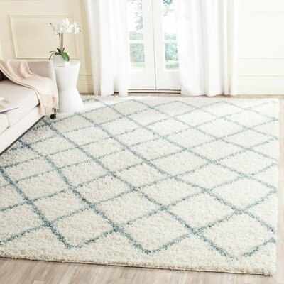 Laurelville Ivory / Seafoam Area Rug Rug Size: Rectangle 2-3 X 6