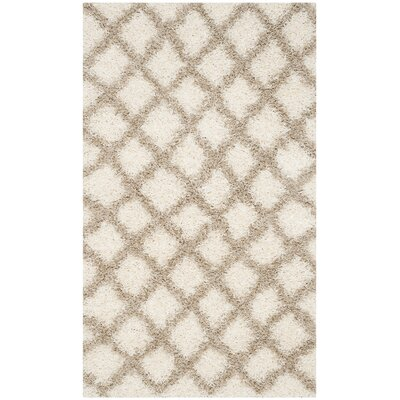 Knoxville Shag Beige/Ivory Area Rug Rug Size: Rectangle 4 x 6