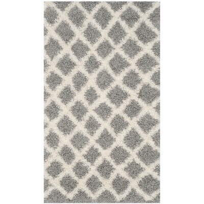 Knoxville Shag Gray/Ivory Area Rug Rug Size: Rectangle 2-3 X 12