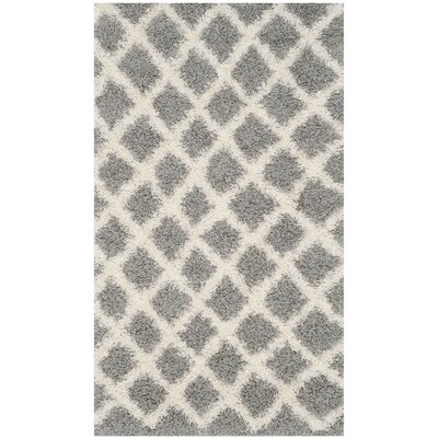 Knoxville Shag Gray/Ivory Area Rug Rug Size: 3 x 5