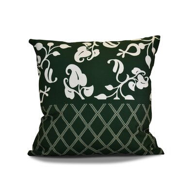 Decorative Holiday Floral Print Outdoor Throw Pillow Size: 20 H x 20 W, Color: Dark Green