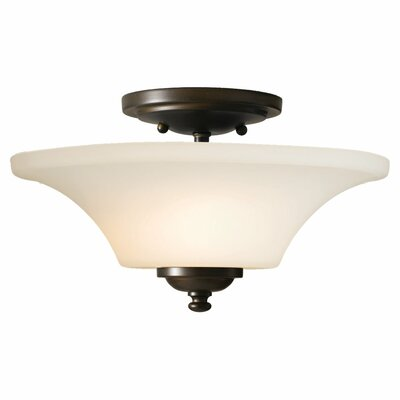 Pompton 2-Light Semi Flush Mount Size: 11.5 H x 15 W x 15 D, Finish: Oil Rubbed Bronze