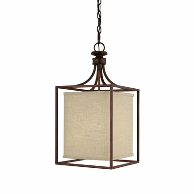 Amato 2-Light Foyer Pendant Finish: Burnished Bronze, Size: 28 H x 14 W x 14 D, Shade Color: Beige