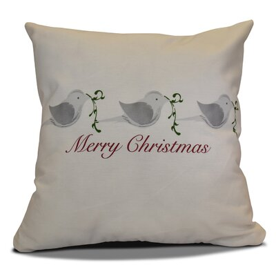 Decorative Holiday Word Print Throw Pillow Size: 26 H x 26 W, Color: Gray