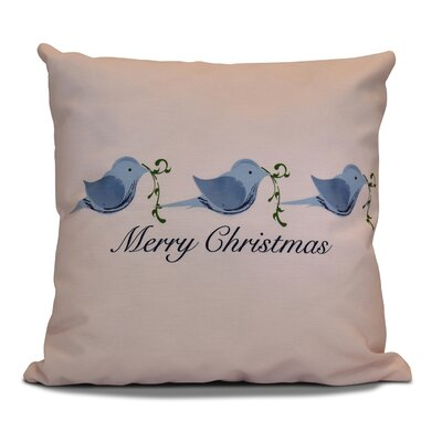 Decorative Holiday Word Print Throw Pillow Color: Blue, Size: 20 H x 20 W