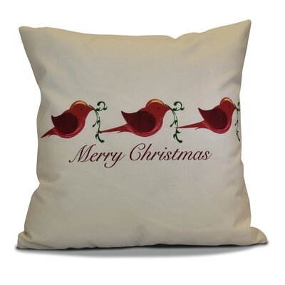 Decorative Holiday Word Print Throw Pillow Size: 26 H x 26 W, Color: Red