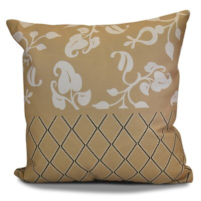 Decorative Holiday Floral Print Outdoor Throw Pillow Size: 16 H x 16 W, Color: Taupe