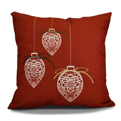 Decorative Holiday Geometric Print Outdoor Throw Pillow Size: 16 H x 16 W, Color: Red