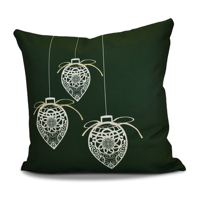Decorative Holiday Geometric Print Outdoor Throw Pillow Size: 16 H x 16 W, Color: Dark Green