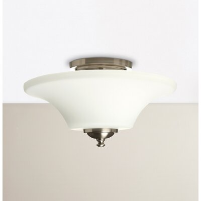 Pompton 2-Light Semi Flush Mount Size: 11.5 H x 15 W x 15 D, Finish: Brushed Steel