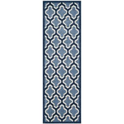 Amherst Light Blue/Navy Indoor/Outdoor Area Rug Rug Size: Runner 23 x 7