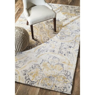 Zanesville Ivory/Yellow Area Rug Rug Size: Rectangle 5 x 8