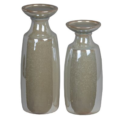 2 Piece Cermaic Candle Stick Set