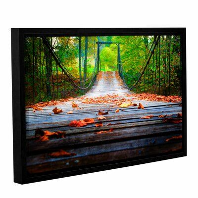 Wooden Swinging Bridge Framed Photographic Print on Wrapped Canvas