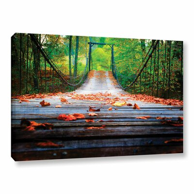 Wooden Swinging Bridge Photographic Print on Wrapped Canvas
