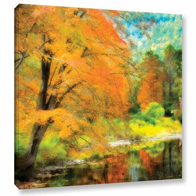 Autumn Creekside Painting Print on Wrapped Canvas Size: 10