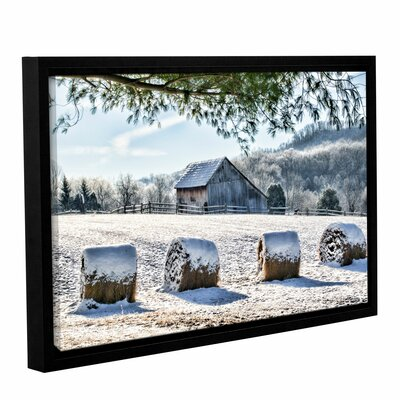 Snow Covered Hay Bales Framed Photographic Print on Wrapped Canvas Size: 12