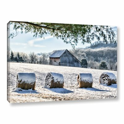 Snow Covered Hay Bales Photographic Print on Wrapped Canvas Size: 12