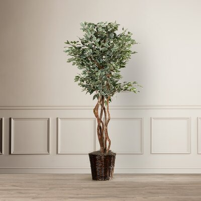 Artificial Potted Natural Variegated Ficus Tree in Basket
