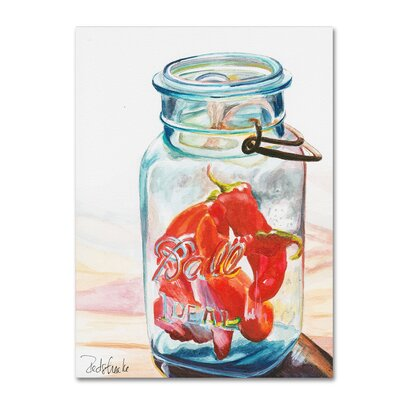 Ball Jar Ideal Peppers Painting Print on Wrapped Canvas Size: 24