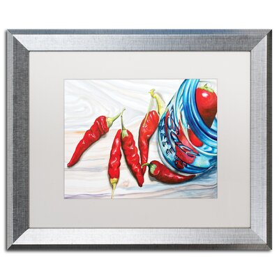 Ball Jar Peppers Giclée Framed Painting Print