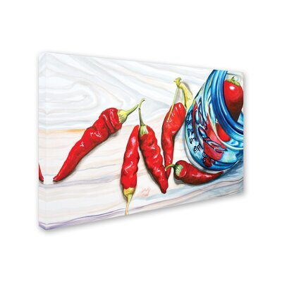 Ball Jar Peppers Painting Print on Wrapped Canvas