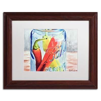 Ball Jar with 3 Peppers Framed Painting Print