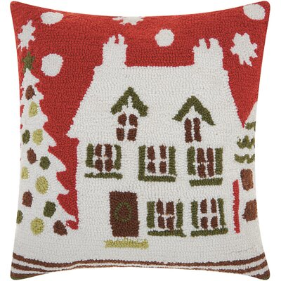 Houston Holiday Hooked Wool Throw Pillow