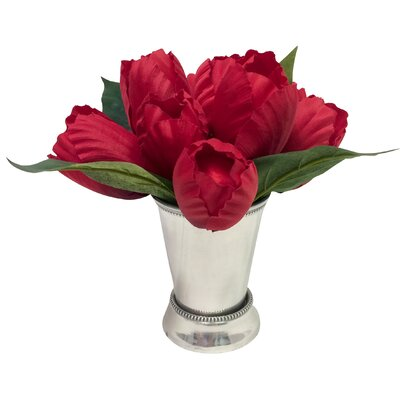Alcott Hill Tulip Arrangement in Mint Julep Cup