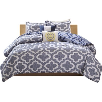 Hayes Comforter Set Size: Full/Queen, Color: Navy