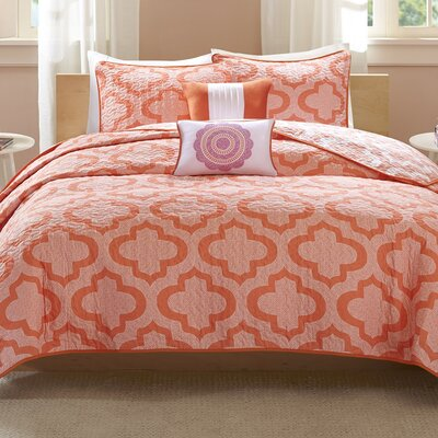 Hayes Coverlet Set Size: Full / Queen, Color: Coral