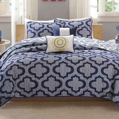 Hayes Coverlet Set Size: Full / Queen, Color: Navy