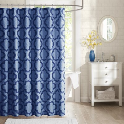 Hayes Printed Shower Curtain Color: Navy
