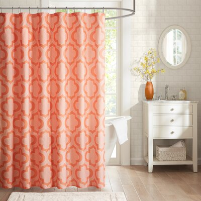 Hayes Printed Shower Curtain Color: Coral