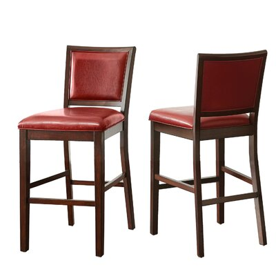 Kiely 30 Bar Stool (Set of 2) Upholstery: Red