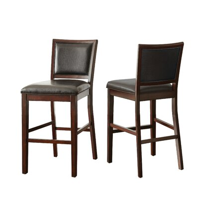 Kiely 30 Bar Stool (Set of 2) Upholstery: Black