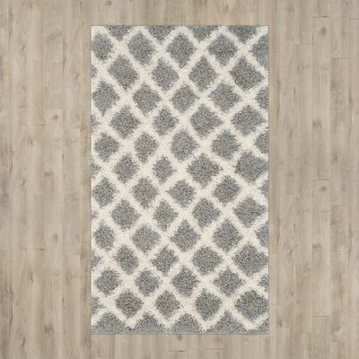 Knoxville Shag Gray/Ivory Area Rug Rug Size: 51 x 76