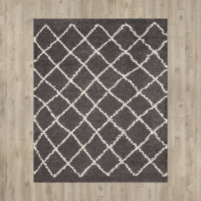 Laurelville Dark Gray/Ivory Area Rug Rug Size: 51 x 76
