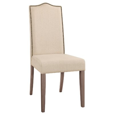 Maelynn Parsons Chair Finish: Weathered Gray, Upholstery Type: Fabric - Beige
