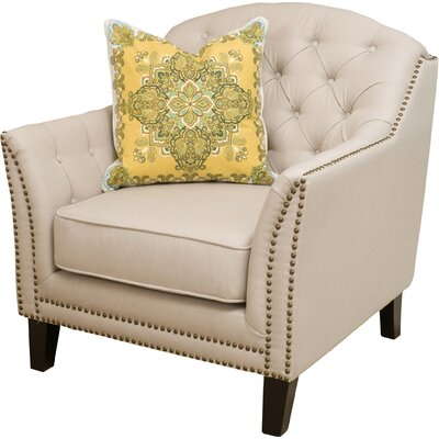 Plumwood Tufted Fabric Arm Chair Upholstery: Beige