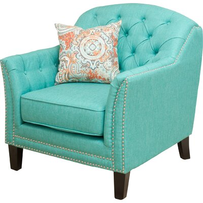 Plumwood Tufted Fabric Arm Chair Upholstery: Teal