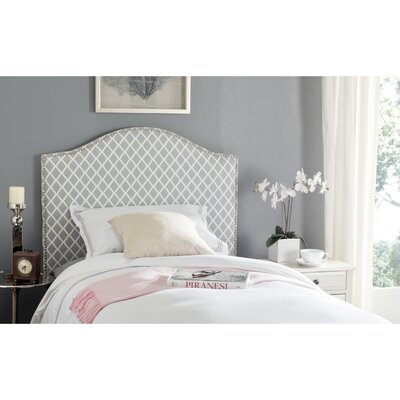 Broadmeade Upholstered Panel Headboard Upholstery: Gray and White, Size: King