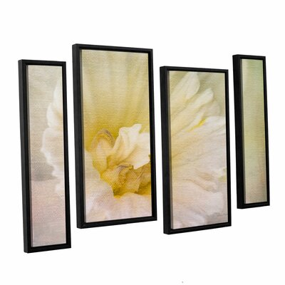 Daffodil Heart 4 Piece Framed Painting Print on Canvas Set