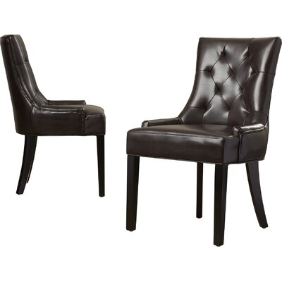 Grandview Side Upholstered Dining Chair Upholstery Type: Leather - Brown