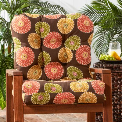 Outdoor Lounge Chair Cushion Fabric: Flowers on Chocolate