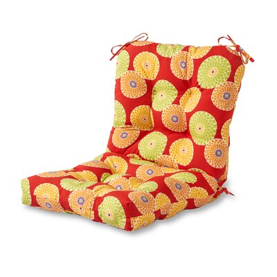 Outdoor Lounge Chair Cushion Fabric: Flowers on Red