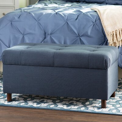 Alcott Hill Henrietta Tufted Linen Storage Bedroom Bench