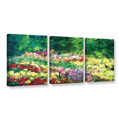 Forest Garden 3 Piece Painting Print on Wrapped Canvas Set